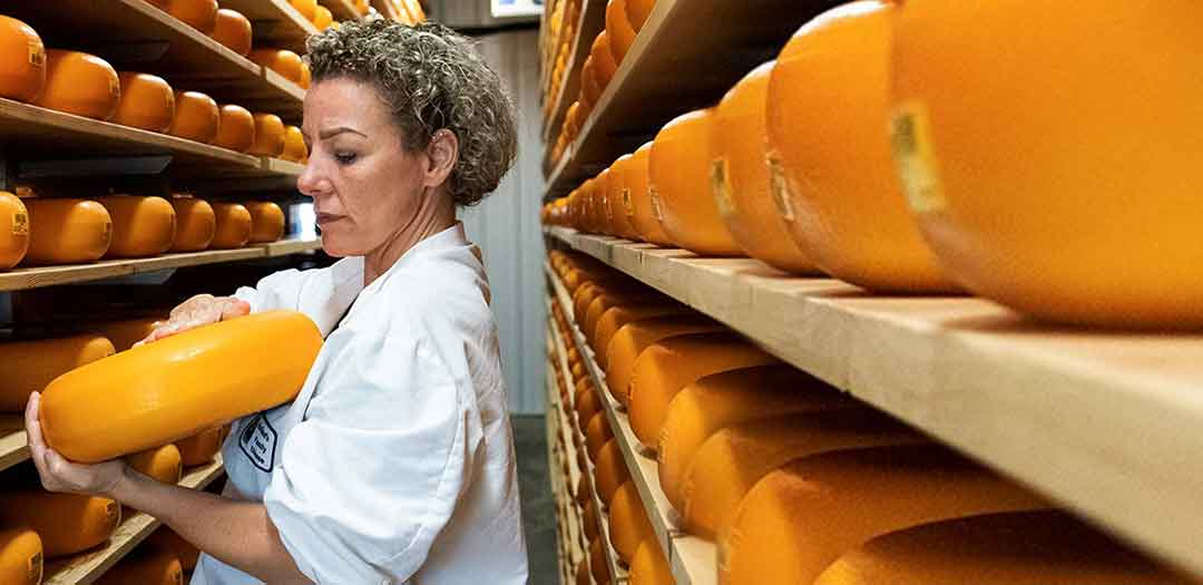 A woman inspecting wheels of cheese. Photo credit Atheana Zinser